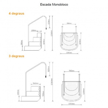 Escada monobloco com corrimão BIG STEP 3 degraus